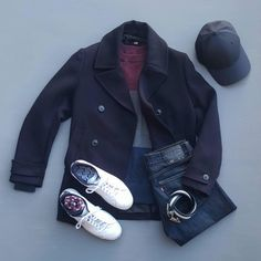 Outfit grid - Pea coat & jeans