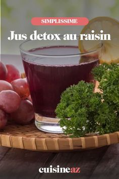 Ce jus detox au raisin se prépare au blender ou à l'extracteur de jus. #recette#cuisine #jus #jusdefruit #raisin Jus Detox, Raisin, Blender, Pudding, Desserts, Food, Drink, Juice Extractor, Tailgate Desserts