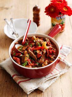 Super einfaches Low-Carb Essen, das immer gelingt: Paprika-Rindfleischpfanne | http://eatsmarter.de/rezepte/paprika-rindfleischpfanne
