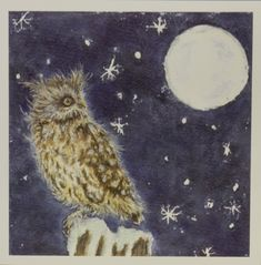 Night life owl card - £2.60 Owl Card, Night Skies, White Envelopes, Night Life, Greeting Cards, Texture, Prints, Painting, Art