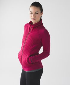 Lululemon Fleece Out Jacket in berry rumble. This jacket uses strategically placed fabrics and zipper vents to keep you warm without the weight. lightweight Polartec® Power Stretch® Pro™ fabric is breathable and oh-so-warm Tech Fleece sleeves and side-body panels are sweat-wicking thumbholes and fold-over Cuffins™ finger covers are the running gloves you can't forget reflective details help you shine bright in low light zippered pockets keep essentials close