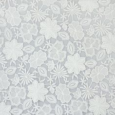 """White Floral Cotton Lace Fabric 55"""" Wide 