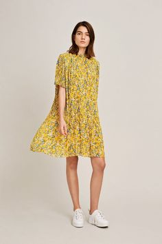 https://bornatdawn.com/products/yellow-floral-plisse-pleated-dress