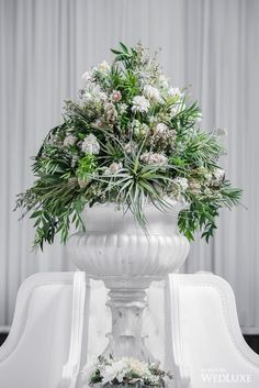 Floral Design - Tailored Twig I WedLuxe – White Space Flower Decorations, Wedding Decorations, Table Decorations, All White, Classic White, Floral Wedding, Wedding Flowers, Floral Arrangements, Flower Arrangement
