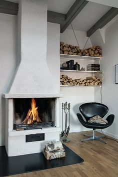 Arne Jacobsen leather swan chair + fireplace