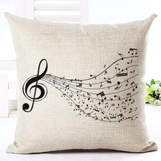 New Linen Cotton Cushion Floral Music Note Printed Pillow Cover Home Decorative Couch Custom Pillowcase