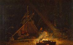 Camp Fire: Winslow Homer  :  circa 1880  :  Fine Art Print #AmericanPainting