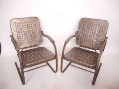 1950s metal outdoor furniture   1950's Stamp Sheet Metal Garden Arm Chairs image 2