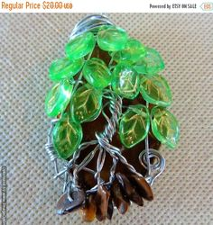 Agate Slice Tree of Life with Green Glass Leaf Beads / Wire Wrapped Pendant / Tiger's eye chip beads