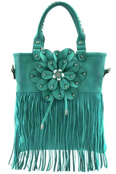 Look at this Cowgirl Trendy Aqua Floral Fringe Tote on today! Fab Bag, Wholesale Handbags, Leather Purses, Everyday Fashion, Fashion Bags, Bucket Bag, Purses And Bags, Gucci, Floral