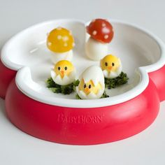 Baby chicks hatching and cherry tomato toadstools (made with quail eggs)