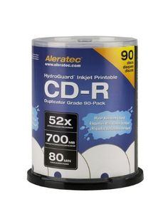 Aleratec 110119 52x Duplicator Grade HydroGuard CD-R (90 Pack) by Aleratec. $57.19. Aleratec HydroGuard - 90 x CD-R - 700 MB ( 80min ) 52x - ink jet printable surface - spindle - storage media. Save 24%!