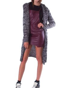 +Charcoal and gray marled knit cardigan with hood