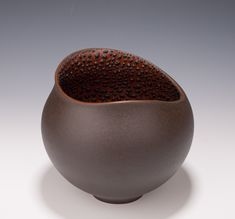 Altered Vessel by Mary Fox, Orange Terra Sigillata with Crawl Glaze -