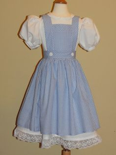 Dorthy, Wizard of Oz Costume. Apron and White Dress.