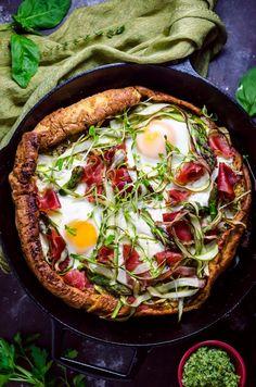 Dutch Baby Pesto Breakfast Pizza with Prosciutto Asparagus and Burrata [OC] [670 x 1012]