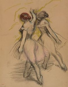 Edgar Degas (1834-1917)  Deux danseuses évoluant  stamped with signature 'Degas' (Lugt 658; lower left)  charcoal and pastel on paper laid down on board  24 3/8 x 18 7/8 in. (61.9 x 47.9 cm.)  Drawn circa 1889 Estimate $350,000 - $550,000
