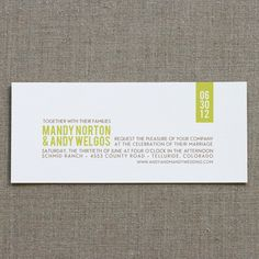 Modern Rustic Invitation Sample - $3.00 : SWEET Letterpress  and  Design, Wedding Invitations  and  Letterpress Printing in Boulder, Colorado