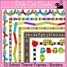 These fun school theme frames / borders will look great on your teaching resources. The black and white borders are great for student worksheets and activity pages. The color borders are perfect for dressing up your page and making it pop. By Pink Cat Studio
