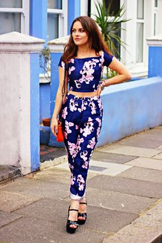 Missguided purple floral two piece the little magpie 1