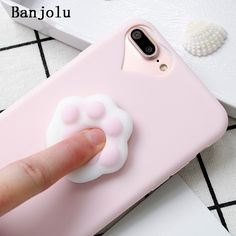 Banjolu Phone Case for iPhone X 6 6s 7 8 Plus 5s SE Cute Cartoon Funny Toys 3D Cat Claw Paw Pink Soft TPU Case Coque