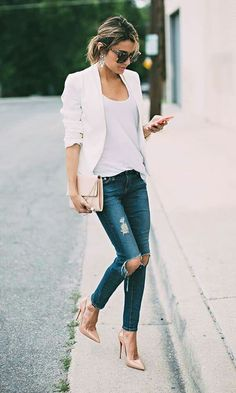 White blazer, ripped skinny jeans and beige heels