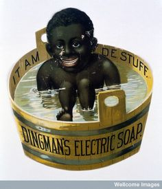1880s cut-out ad for Dingman's Electric Soap. (bad enough an ad, but then 'electric' soap??)