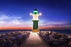 Noctiluca - Lighthouse in front of noctilucent clouds (NLC) - Rostock-Warnemünde, Germany 2015