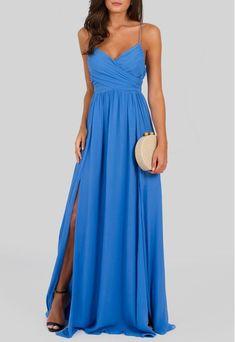 Vestido longo azul de seda com fenda Animale - powerlook-V-MOB