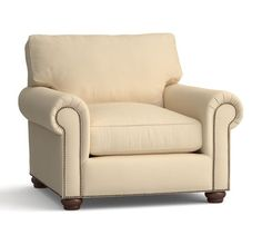 Webster Roll Arm Upholstered Armchair with Bronze Nailheads, Down Blend Wrapped Cushions, Washed Linen/Cotton Silver Taupe At Pottery Barn Living Room Chairs, Cushions, Chair And Ottoman, Furniture, Upholstered Arm Chair, Leather Armchair, Armchair, Upholstered Chairs, Engineered Hardwood