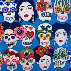 Fabric, Gotas de Amor in Blue, Alexander Henry Folklorico, Frida Skulls, By the Yard