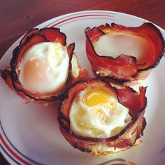 Paleo breakfast idea: layer bacon in a muffin tray and then crack an egg into it bake till cooked