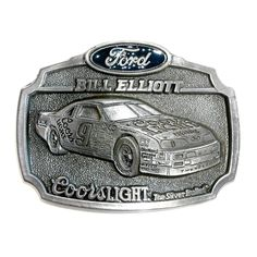 NASCAR Bill Elliott Coors Light No 9 Racing Team belt buckle.   The Silver Bullet , U.S.A.  Heavy Solid Pewter.  Limited Edition.  Made in U.S.A. in 1