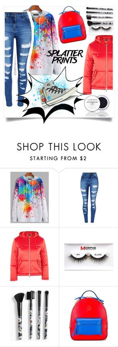 """Splatter Prints"" by kari-c ❤ liked on Polyvore featuring WithChic, Topshop, Morphe, Torrid, Versace, Tokyo Rose, Converse and paintiton"