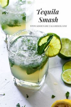 Tequila Smash with lemon, lime, and mint Cocktails. Tonic Cocktails, Easy Cocktails, Summer Cocktails, Cocktail Drinks, Fun Drinks, Cocktail Recipes, Lemon Cocktails, Cocktails Using Mint, Cocktail With Mint
