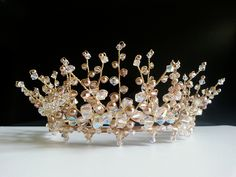 Handmade Swarovski Crystal & Swarovski Gold Pearl Bridal Wedding Tiara