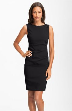 Nicole Miller Sleeveless Ruched Crepe Sheath Dress | Nordstrom