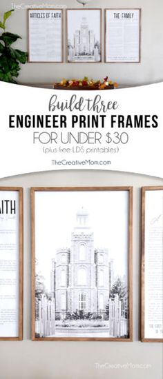 How to Build a Frame for Engineer Prints (free building plans) - The Creative Mom Farmhouse Wall Decorations Build A Frame, Diy Frame, Cheap Poster Frames, Lds Art, Engineer Prints, Pallet Art, Living Room Art, Diy Wall Art, Wall Canvas