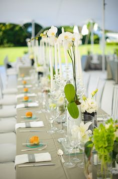 wedding photo by Eric Uys Photography, orchid centerpiece, reception, tabletop