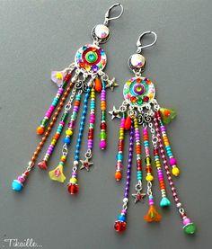 Sur commande - Bohemian Dream ஐ Boucles d'oreilles bohèmes polymère cristal multicolore fait main Tikaille