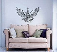 Skull with Wings Flowers Roses Sword Wall Decals Vinyl Sticker Home Interior Decor for Any Room Housewares Mural Design Graphic Bedroom Wall Decal (5729) stickergraphics http://www.amazon.com/dp/B00K9KLNXE/ref=cm_sw_r_pi_dp_2opWtb03TH0XA97Q