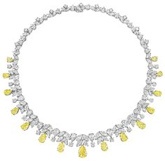 Designed as a pear-shaped, marquise and circular-cut diamond line, weighing approximately 44.55 carats in total,suspending a graduated series of pear-shaped fancy yellow diamonds, weighing approximately 18.43 carats in total,mounted in platinum, length 16 inches.