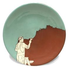"lustik: ""Painter"" Plate - Dewey Arsee This sums up my life at the moment, ceramics decorating! Pottery Painting, Ceramic Painting, Ceramic Artists, Pottery Plates, Ceramic Pottery, Pottery Art, Thrown Pottery, Slab Pottery, Pottery Studio"