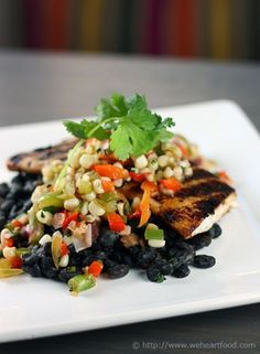 Achiote Grilled Mahi Mahi, Corn and Black Bean Salsa, Crab and Avocado ...