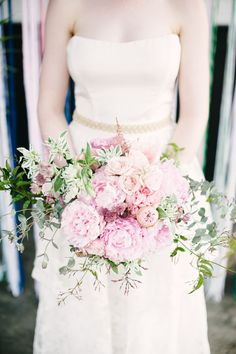 pale #pink #bouquet full of peonies and roses | Photography: Brklyn View Photography -