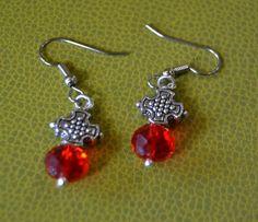 Red Bead Earrings by DebWiseCreations on Etsy