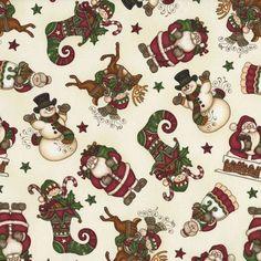 HOLLY JOLLY Dan Morris RJR Christmas Santa Snowman Elf Shelf Cream BTY #RJRFabrics