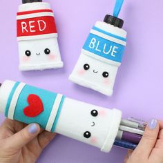 Back to school with this kawaii diy paint tube pencil case. you can also make a smaller version for holding earphones, lip balm and other small items. This diy is easy and made out of recycled materials.
