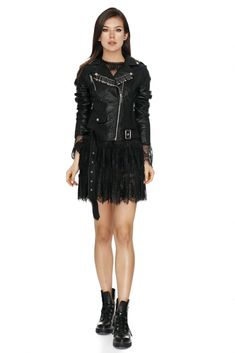 Channel your inner biker chic with the Callanne black faux leather jacket from Vero Milano. Punk-rock inspired safety pin detailing completes the look. Black Biker Jacket, Black Faux Leather Jacket, Faux Leather Jackets, Pu Leather, Biker Chic, Spring Fashion Outfits, Clothes For Sale, Punk Rock, Zip Ups
