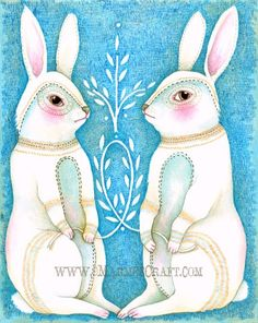 "Rabbit art print, ""Folk Hare"". $17.00, via Etsy."